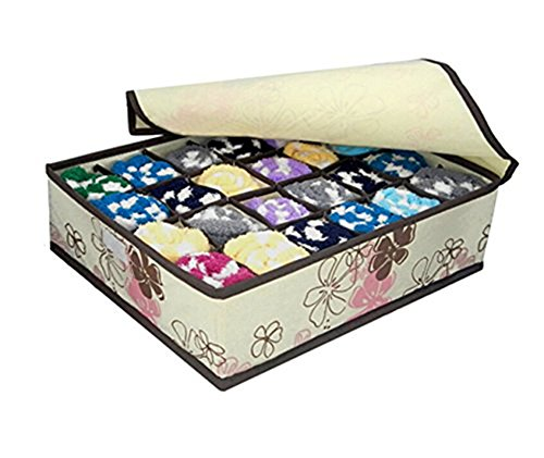 westeng ropa interior organizador para pañuelos, ropa interior, sujetador, calcetines y cuello corbatas cajas de almacenamiento organizador plegable (24celdas con tapa (rosa), Blanco, 30*10*35cm