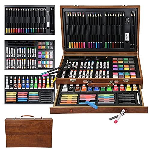 ECD Germany Set de Pintura 112 Piezas Maletín para Dibujar y Pintar Ideal para Adultos/Niños Set Profesional de Artista Incluye Lápices de Colores, Pintura de Óleo, Acrílicas, Ceras y Acuarelas
