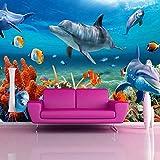 Papel Tapiz Mural 3D Personalizado Para Niños,Papel De Pared De Pez Delfín Submarino,Fondo De Pared De Acuario,Decoración De Habitación,Ropa De Cama Para Niños,Habitación,430(W)*300(H)Cm