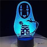 Miyazaki Hayao Anime 3D LED Lámpara,Sin rostro Hombre Figuras de acción Decoración Muñeca Niños Juguetes Acrílico 7 colores Luz nocturna
