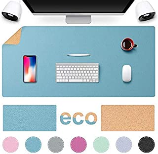 """TESOBI Large Light Blue Natural Cork & Leather Desk Pad, 36"""" x 17"""" Double-Sided Desk Protector, Smooth Surface Mouse Pad, ..."""