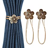 FYATTVA Vintage Magnetic Curtain Tieback, Resin Flower Curtain Drapery Holdback for Window Drapery, Convenient Curtain Decorative Buckle Holdbacks Holder for Home Kitchen Office Cafe - 2 Pack