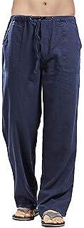 Vanvene - Pantaloni da uomo in lino, stile casual, vestibilità larga, elastico in vita con coulisse, pantaloni a gamba dri...