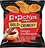 Popchips Ridged Potato Chips, Tangy BBQ, 0.8 Ounce Single Serve Bag (Pack of 24)