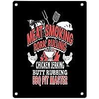 肉燻製ポークプルチキンジャークバットラビングバーベキューインチノベルティサインヴィンテージメタルティンサインウォールサイン-20x30cm