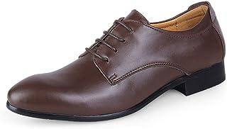 Kirabon Zapatos de Cuero de los Hombres de Negocios Zapatos Casuales Zapatos de los Hombres (Color : Dark Brown, Size : 46)