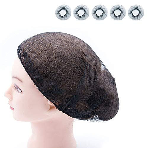 Hair Nets,Reusable Hairnets - Food Service/Work Long Hair/Sleep/Nurses,MOIKY Kitchen Beauty Home Elastic Mesh Hair Head Cover Net(5 pcs,Black)
