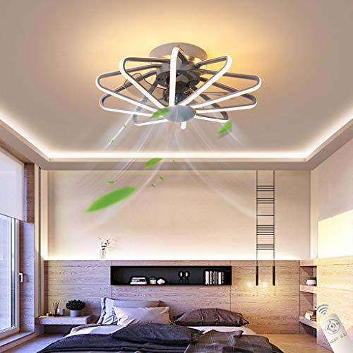 Ventilador de Techo Con Iluminación y Control Remoto, Luz de Techo LED de 110 Vatios, Lámpara de Techo Con Ventilador Silencioso Regulable, Temporización de Lata, Para La Sala de Dormitorio,C gray