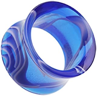 Marble Swirl Acrylic Double Flared Ear Gauge Freedom Fashion Tunnel Plug (Sold by Pair)