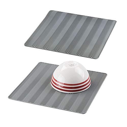 mDesign Scolapiatti da Cucina in Silicone Chevron - Medio, Grigio - Confezione da 2