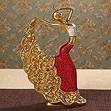qingtianlove Escultura Decoración Moderno Adornado Arte Creativo Muebles Artesanía clásica Danza del Pavo Real Mujer Escultura Danza Chica Decoración de la Estatua (Color, Rosa roja), Rosa roja