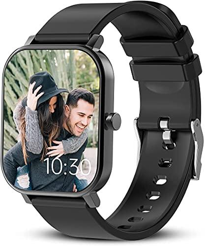 Smartwatch, Smartwatch Uomo Donna Orologio Fitness Tracker, touch screen 1,69 , frequenza cardiaca, monitoraggio del sonno, contapassi, promemoria chiamate (Nero)