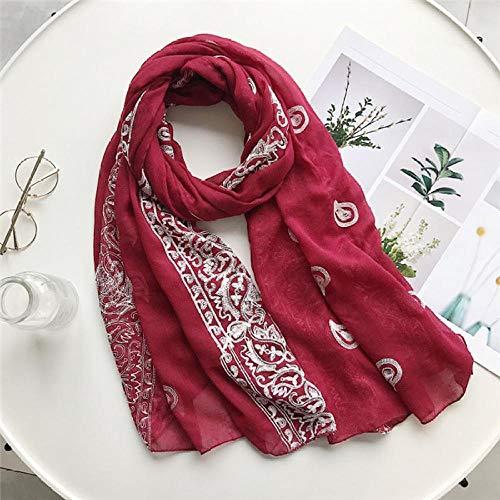 Schal Damen Stickerei Cashew Blumen Schal Frauen Mode Lange Viskose Schals Lady Stitch Tücher Und Wraps Muslim Hijab Foulards-2