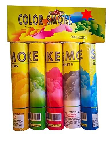 5 Stück h2i Color Mix Bengalo Rauch Vulkan Fontäne Party Feuerwerk Rauchfarbe Grün, Gelb, Blau, Weiß, Rot/Ganzjahresfeuerwerk Kat T1/ F1