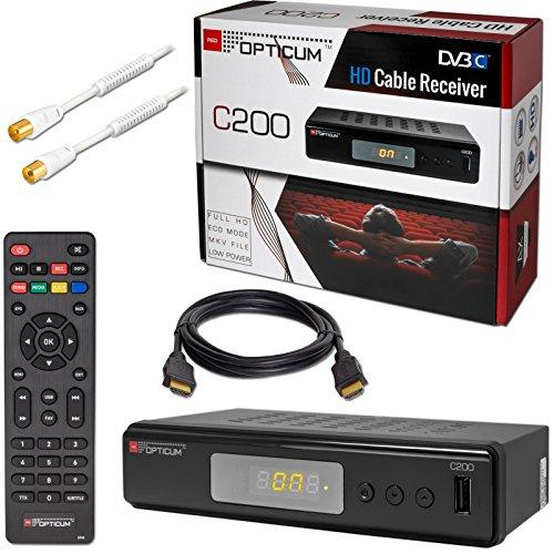 Kabel Receiver DVB-C HB-DIGITAL Set: Opticum HD C200 Receiver für digitales Kabelfernsehen (HDMI SCART USB Mediaplayer) + 1m HDTV Antennenkabel vergoldet mit Mantelstromfilter weiß + HDMI Kabel