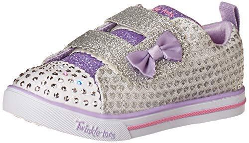 Skechers Kids Girls Sparkle Lite-Peek-a-Cute Sneaker, Silver, 6 Toddler