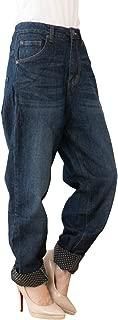 [サコイユ] サルエル デニム M~4L ロールアップ ロング パンツ ジーンズ 裾 ドット 柄 ジーパン ゆったり レディース