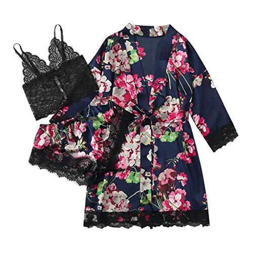 SHUANGA 2020 Damen Neue Nachthemd Satin Seide Pyjama Robe Spitze Dessous Frauen Unterwäsche Nachtwäsche Hose Mit GürtelBequemer, weicher und atmungsaktiver Pyjama Sexy Dessous Sleepwear