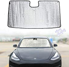ROCCS Model 3 Model Y Front Windshield Sunshade, 3 Layer UV Reflector Sun Shade Auto Front Reflective Folding Sun Shade with 5pcs Sucker for Tesla Accessories, Silver