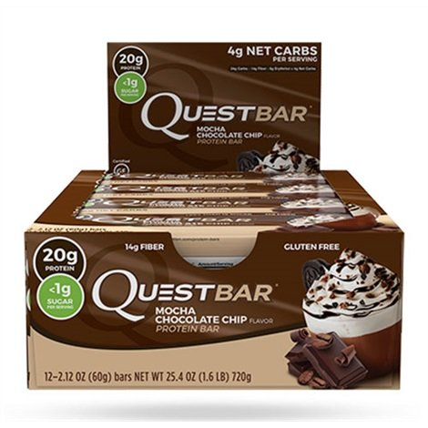 Quest Nutrition Quest Bar High Proteinriegel Eiweißriegel Protein Eiweiß Whey 12x 60g (Mocha Choco Chip - Mokka Schoko)