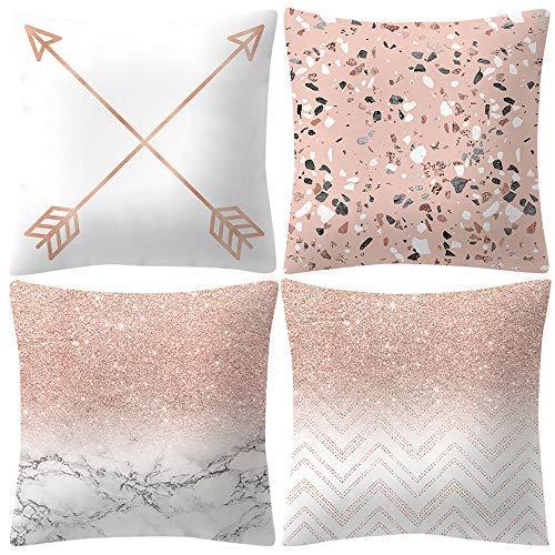 4 fundas de almohada de oro rosa simple y rosa con patrón de flores cuadradas para decoración del hogar, habitación, cama, oficina, sofá, silla de coche, funda de almohada de regalo elegante