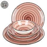 Geschirrset 24-teilig aus Porzellan für 6 Personen - Tiefe Suppenteller, Flache Essteller, Dessertteller und Schüsseln - Hochwertiges modernes buntes Vintage Tafelservice Kombiservice - Bordeaux