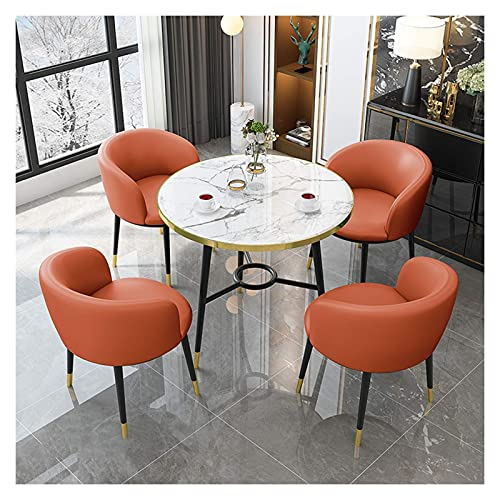 SFSGH Classic Dining Table Chairs Set, 1x Wood Round Table and 4pcs PU Leather Kitchen Counter Chairs with Backrest and Metal Legs Reception Chairs for Kitchen Dining Living Room/Balcony