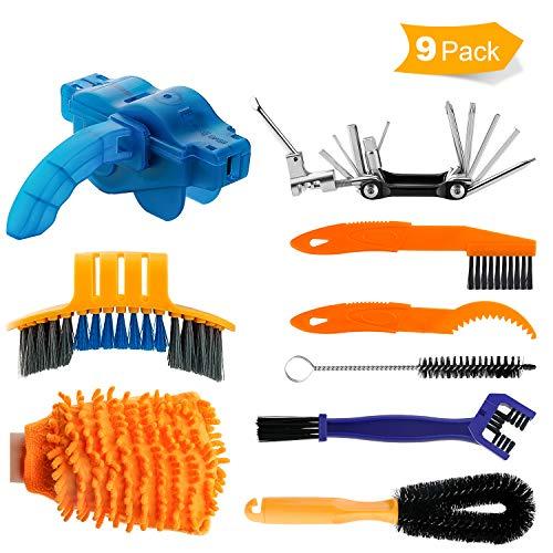 Hootracker 8 Pieces Bicycle Cleaning Brush Tool 11 in 1 Multi-Purpose Bicycle Repair Tools