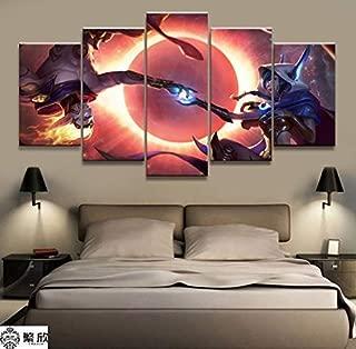 Zzjart HD Printed Oil Paintings Home Wall Decor Art on Canvas,Hero Xayah Rakan 5PCS #558 (Unframed)