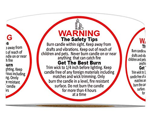 Candle Warning Labels 1.57 Round Stickers - 500 Candle Warning Stickers Waterproof Candle Jar Container Labels Wax Melting Safety Stickers for Candle Jars Tins and Votives