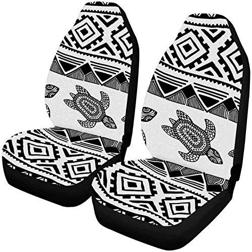 Preisvergleich Produktbild Romance-and-Beauty Turtle Striped Geometric Front Autositzbezüge 2er-Set,  Autositzbezüge Vordersitze nur Universal Fit