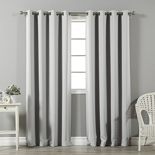 "Best Home Fashion Thermal Insulated Blackout Curtains - Stainless Steel Nickel Grommet Top - Light Grey - 52"" W x 96"" L - (Set of 2 Panels)"