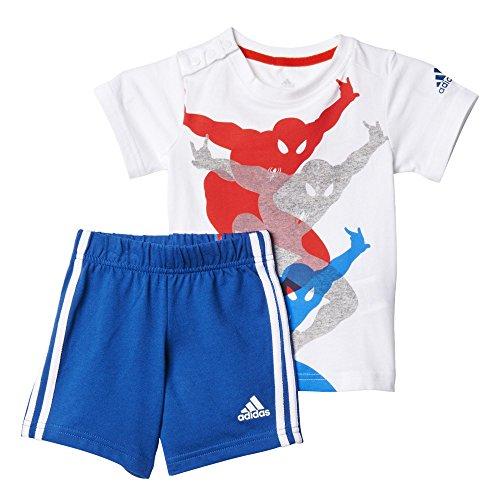 adidas Kinder Trainingsanzug to DY SM SS Baby-bekleidungsset, Weiß/Blau/Rot, 86