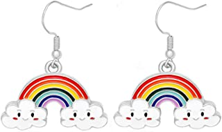 Cute Colorful Rainbow Dangle Earrings for Girls Kids Gifts