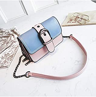 Leather New Women's Shoulder Wallet Sewing Thread Shoulder Messenger Wallet Solid Color Simple Fashion Chain Small Square Wallet Waterproof (Color : Blue, Size : M)