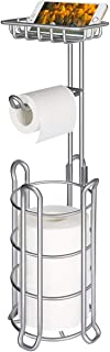 TomCare Toilet Paper Holder Toilet Paper Stand with 4 Raised Feet Metal Bathroom Accessories Tissue Paper Dispenser Free Standing Toilet Paper Roll with Storage Shelf Bathroom Storage Organization