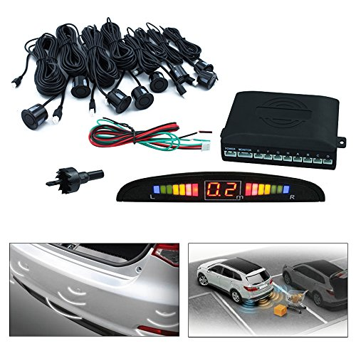 Hengda Auto Einparkhilfe 8 Sensoren mit Display in schwarz PDC Rückfahrwarner Parkplatz Rückfahrradar vorne & hinten sensibel