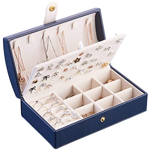 Small Jewelry Organizer Box Portable, Faux Leather Jewelry Case, Jewelry Treasure Box for Girls - Arched, Navy