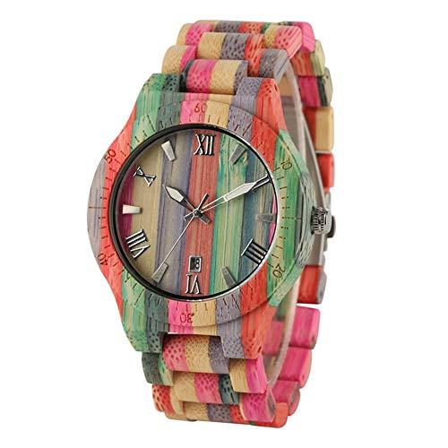 NLYWB Reloj de Madera para Mujer, Reloj de Madera Colorido de bambú...