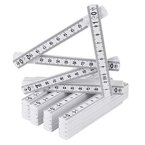 Mitening 5x Mini-Zollstock aus Kunststoff, 1 Meter Gliedermaßstab mit 10 Glieder, Metrische Skala und in Weiß