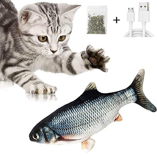 FENRIR Giocattoli Elettrici per Pesci, Catnip Giocattoli per Gatti,Gioco Gatto interattivo,Simulazione Peluche di Pesce, Ricarica USB,Giocattoli per Gatto