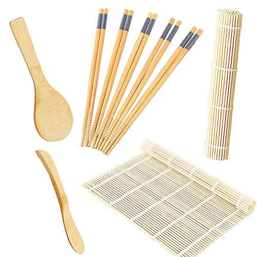 STARUBY Sushi Making Kit Includes 2 Sushi Rolling Sushi Mats, Rice Paddle, Rice Spreader 5 Pairs Bamboo Chopsticks Sushi Set