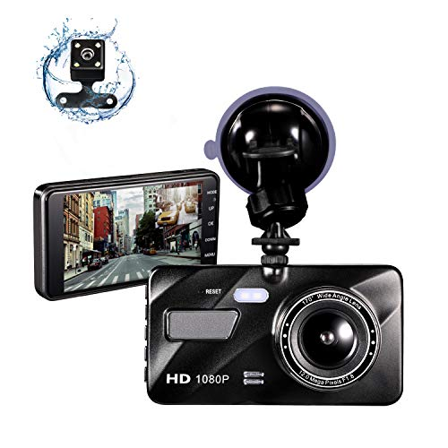 Dash Cam Front and Rear Dual Dash Cam for Cars 1080P FHD 4' LCD Screen Car Camera Driving Recorder with Night Vision,170°Wide Angle Motion Detection Parking Monitor G-Sensor