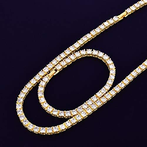 GYXYZB Tennisarmband, 1 x 5 mm, zilveren halsketting met strass-steentjes met ketting voor heren, met choker armband, 16