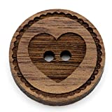 Cofanetto in legno naturale con bottoni incisi motivo 12 – 30 mm I 25 pezzi noce 2 fori bottoni in legno fai da te fai da te cucito creazione gioielli cucire rotondo, Legno, cuore, 12 mm