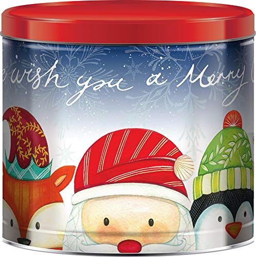 GiftPop We Wish You a Merry Christmas Assorted Holiday Popcorn, 22 Oz Tin, Caramel, Cheddar Cheese & Butter Flavored
