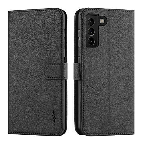 EasyAcc Hülle Hülle Kompatibel mit Samsung Galaxy S21 5G, PU Leder mit Kartenhalter & Faltbare Tasche Handyhülle mit Standfunktion Brieftasche Handy Schutzhülle, Schwarz