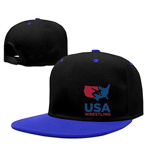 Rojo Personalizado USA Wrestling Estados Unidos Snapback sombreros gorra de béisbol, Azul real, Talla única