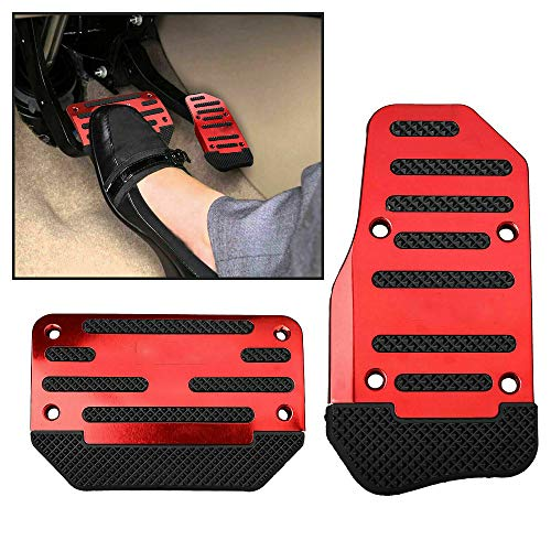Car Brake Pedal Pad Cover - Car Clutch Pads 2PCS Non Slip Gas Pedal Pad Footrest Protector Foot Pedals Rest Plate Kits for Car Vehicle Trunk (Red)