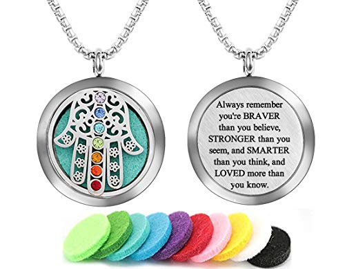 GFONDINGD Aromatherapy Essential Oil Diffuser Necklace Stainless Steel Locket lnspirational Pendant